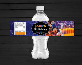 Personalized Coco Water Bottle Label Clouds Miguel Dante Guitar Birthday Party Printable DIY - Digital File