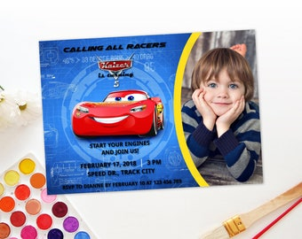 Personalized Cars 3 Birthday Party Photo Card Lightning Mcqueen Invitation Printable Invite DIY