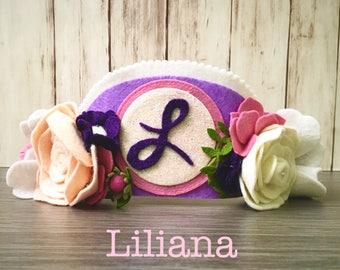 Liliana Design l Custom Birthday Crown l Personalized Monogram Floral Crown l Felt Flower Headband l Princess Crown l Flower Crown Child