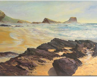Zambujeira Beach... Portugal seascape, above sofa art, house or office styling, wedding birthday present, ready to hang, painting figurative