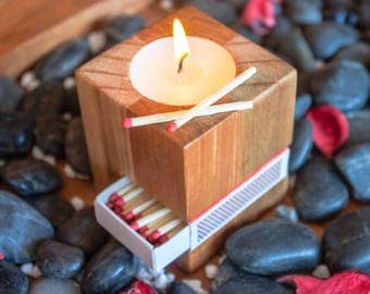 Wooden Cube Candle Holders