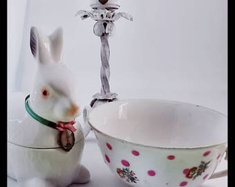 Shabby chic themed porcelain and ceramic