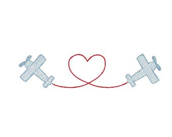 Valentine's Day airplanes with heart sketch fill, vintage stitch embroidery design file