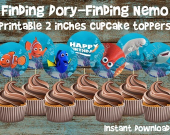Finding Dory Cupcake Toppers, Finding Dory Birthday Party, Finding Dory Party, Finding Dory Birthday, Finding Dory Printable Decorations