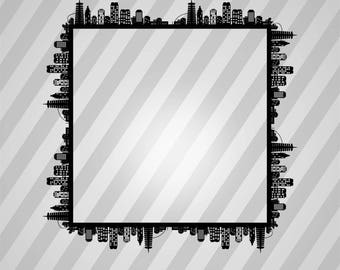 City Skyline Ii Square - Svg Dxf Eps Silhouette Rld Rdworks Pdf Png Ai Files Digital Cut Vector File Svg File Cricut Laser Cut