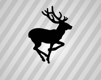 running deer outline silhouette svg dxf eps silhouette rld rdworks pdf png ai files digital