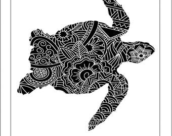 Turtle papercut etsy sea turtle papercut template svg paper cut templates stencil line art henna mandala pdf cut pronofoot35fo Image collections