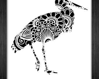 Crane Bird Papercut Template Mandala Henna - Svg Paper Cut Templates Stencil Line Art Pdf Cut Files Digital Clip Art Drawing