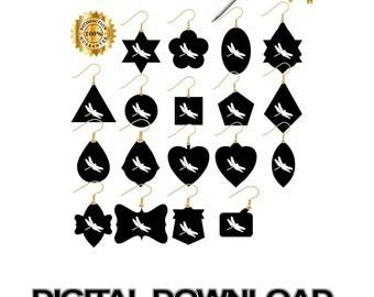 Earring Cut File, Earring Svg, Cricut, Jewelry Svg, Leather Earring Svg, Earrings Svg, Dragonfly, Leather Jewelry Svg