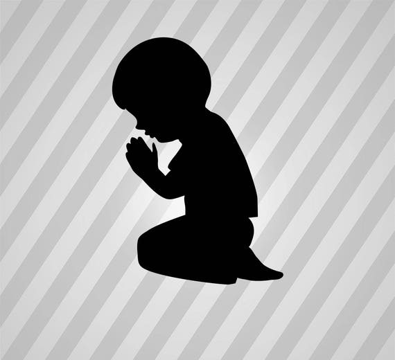Child Praying Silhouette Svg Dxf Eps Silhouette Rld RDWorks