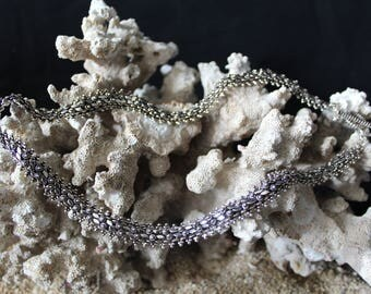 Handcrafted Artisan Necklace, Silver Flower Necklace, Laos Necklace, Oxidized Silver