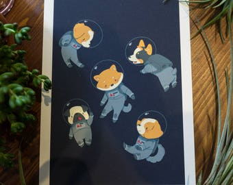 Space Dogs (A5 or A4 Glicée Print)