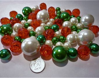 95 Christmas Holiday Green Pearls and White Pearls in Jumbo & Assorted Sizes with Red Gems  Vase Fillers for Centerpieces and Tablescapes