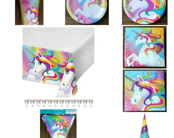Rainbow Unicorn Birthday Party Supplies ~ Cups Plates Banner Table Cover Napkins Hats