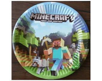 """10pc. Minecraft 7"""" Birthday Paper Plates ~ Party Supplies Decorations"""