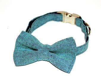 Turquoise denim- Bow Tie with and without Collar