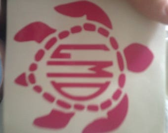 Car/YETI cup turtle monogram decal