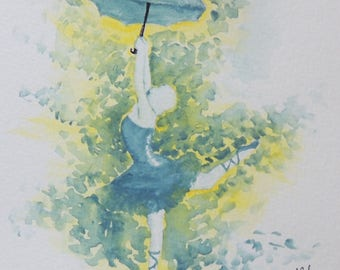 Ballerina and Umbrella 5x5 Watercolor