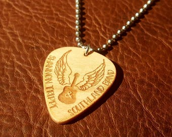 Custom Guitar Pick Necklace - Personalized, Text, and Quotes Engraved