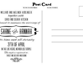 Wedding invitation postcard, postcard to mail invite, invitation postcard, postcard wedding inviation, mail a postcard invite, wedding