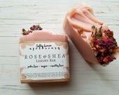 Rose and Shea Butter Soap- Luxury Rose Soap- Rose Petal Soap- Shea Butter Soap- Mango Butter Soap- Artisan Soap- Handmade Soap- Vegan Soap