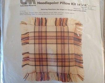 Vtg Needlepoint Pillow Kit Columbia Minerva Plaid Point from 1979 SEALED