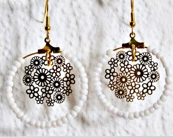 White and gold Oriental earrings