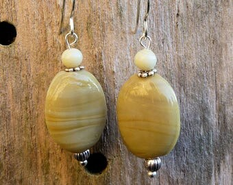 Tan beige glass beads earrings