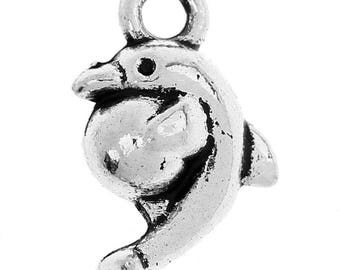 set of 10 Dolphin metal charms Silver 3 d 15 X 10 mm