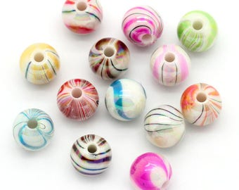 30 stripes set of 8mm acrylic beads