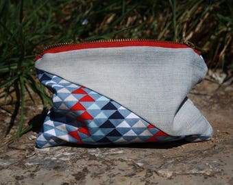 Wallet in graphique fabric and blue jeans / Purse