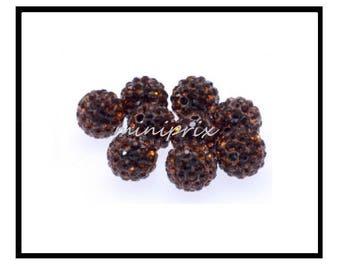 X 10 pearls shamballa 10mm caramel brown rhinestone Crystal