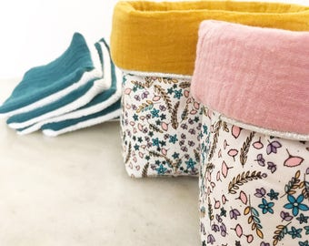 TO order - two pouches storage reversible floral cotton and double gauze