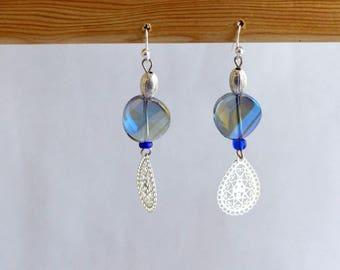 Earrings dangle glass pending