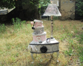 "Antique foot lamp wood ""secret gardens in Louis XV... """