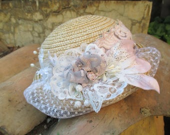 "Old straw hat ""Bibi in cabbage Shabby"""