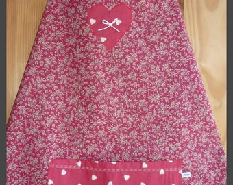 Apron red little flowers and beige