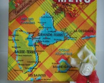 "Kit card double Guadeloupe decoupage ""MENU"" theme madras make you (100% craft)"