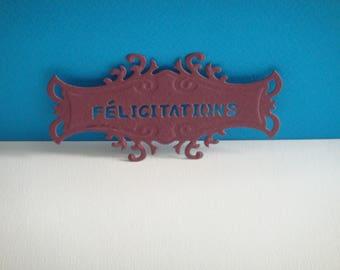 "Purple tag with ""Congratulations"" Custom cut"