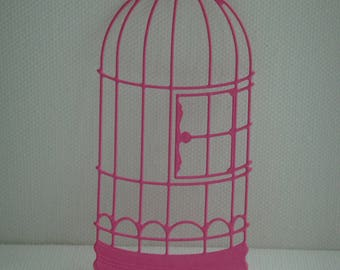 Cut bird cage in fuchsia for creating drawing paper
