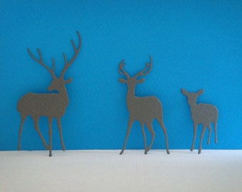 Cutout family gray deer paper for scrapbooking and card design