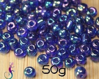 50g 4mm blue iridescent 152 glass seed beads