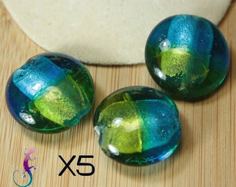 10 20 mm Pebble shape glass beads blue yellow green and silver