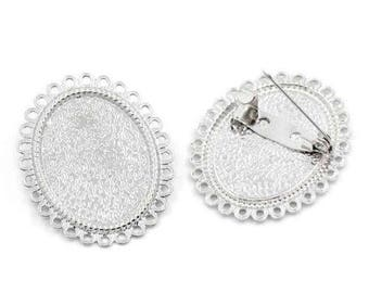 set of 3 holders brooch silver cabochon 25 x 18 mm