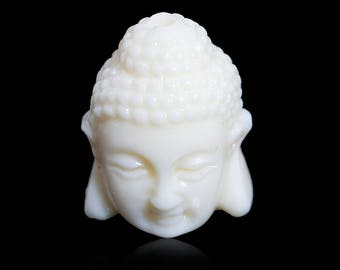 Set of 2 beads Buddha 3 D coral 17 x 12 mm