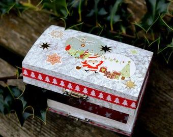 Santa decorated wooden box