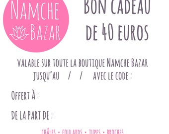 Gift card / voucher value of 40 euros
