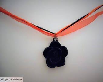 Black rose pendant necklace
