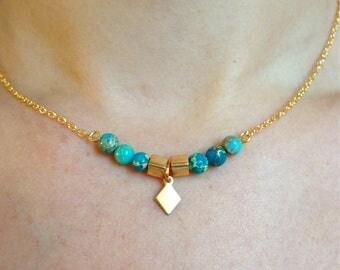 Necklace YENA - square gold plated, diamond stone Jasper aqua terra turquoise