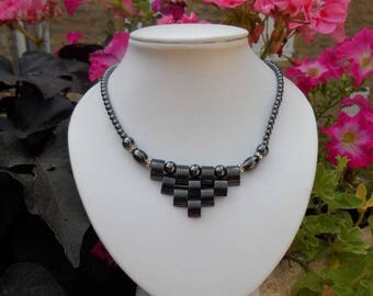 HEMATITE NECKLACE: 45cm, made by me